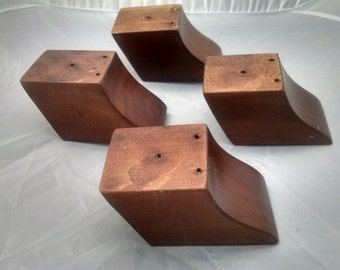 "Skewed and Tapered Furniture Legs. Mahogany. 2.75"" Tall. Set of 4 legs"