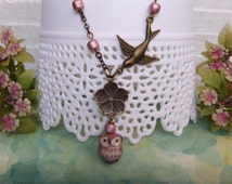 Garden Owl Necklace / Assemblage Porcelain/Ceramic Owl Bead Antiqued Bronze Bird/Flower Charms Pink Metallic Glass Beads Holiday Gift #1464