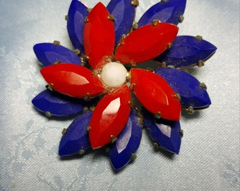 Vintage Red White and Blue Flower Pin Brooch