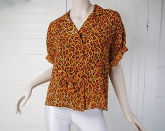 90s Leopard Print Shirt in Silk- 1990s Club- Orange / Brown- Cropped