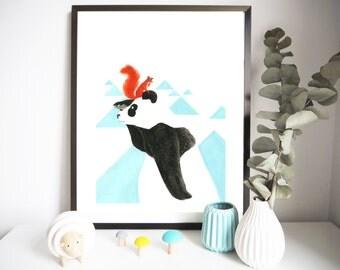 Poster 'PANDA' 30 x 40 cm - Illustration for children's bedroom - design handpainted - graphic Poster