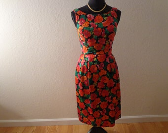 Stunning Vintage Colorful Floral with Sequins Satin Dress - Size Medium