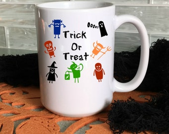 Halloween Mug for Kids, Trick or Treat Halloween Mug, Cocoa Mugs, Kids Mugs, 15 oz,  11 oz, Halloween Decorations