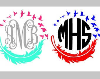 Feather Decal, Monogram, Car Decal