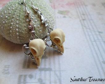 Bird Skull Vintage earrings, Bird skull earrings, Gothic earrings, Vintage earrings, Steampunk earrings