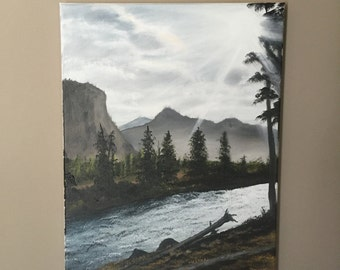 """Bob Ross Style Original Landscape Oil Painting - """"Madison River"""" 12in x 16in. NOT a print, the actual painting! FREE SHIPPING!"""