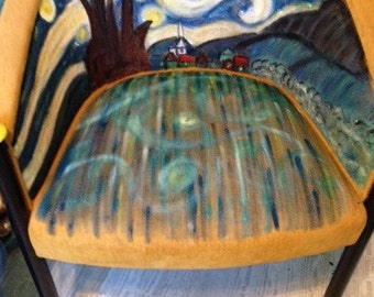 Upcycled Upholstered Chair - Van Gogh's A Starry Night