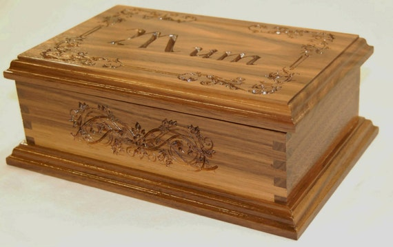 Box - Personalised Walnut Box with Design on Lid & Side