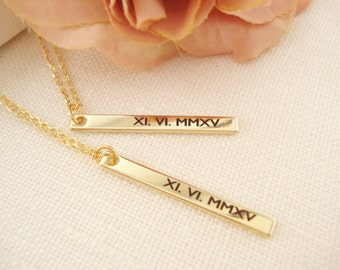 Personalized Vertical Gold bar necklace (ONE)...Engraved Bar, sorority, best friend gift, wedding, bridesmaid gift