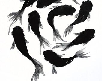 PRINT of Watercolor Painting, Black Moor art, Goldfish, Gold Fish, Sea art, room art, Goldfish, Girt for her, Ocean Art OOAK