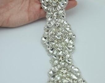 """Premium Crystal Rhinestone and Pearl Trim by the Yard - Wholesale Bridal Trim - Bridal Fabric- 2"""" Bridal Belt - Rhinestone Applique"""