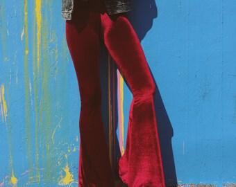 Burgundy velvet Bell Bottoms Leggings Pants Festival Coachella Fashion bells gypsy beach boho