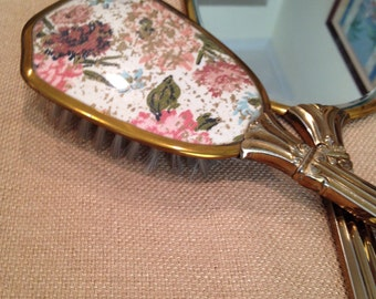 Antique Vanity Brush & Mirror Set