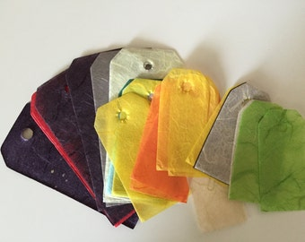 Gift Tags, 30 Assorted Color Mulberry Tags, Acid Free Mulberry Tags, Paperbilities, Multicolored Tags