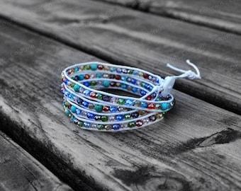 Wrap Bracelet Summer Bracelet Colorful Crystal Bracelet Charm Bracelet 4mm Beaded Bracelet with White Wax Cord