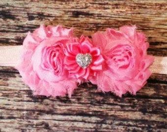 Baby Headband! Valentines Day Headband! Pink Headband! Silver Heart Headband! Baby Girl Headband. Infant Headband.  Newborn Headband.
