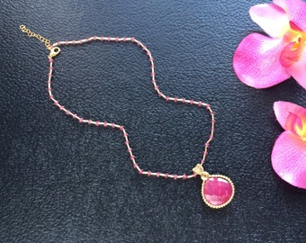 Pink Quartz Beaded Necklace with Large Gold Filled Wire Wrapped Ruby Pendant