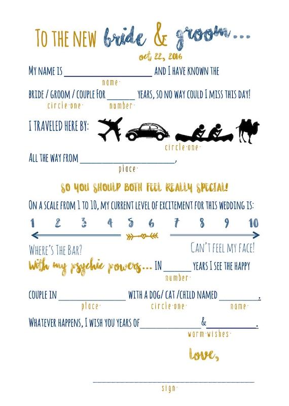 Wedding Madlib, Printable DIY guestbook cards, marriage advice cards