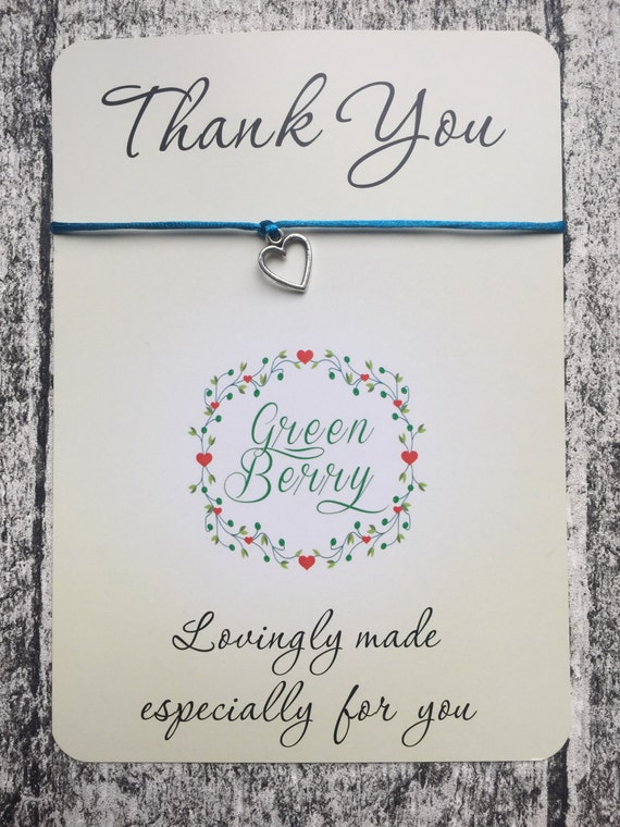 "Hollow Heart charm String Bracelet on ""Thank You"" quote card madebygreenberry wish bracelet"