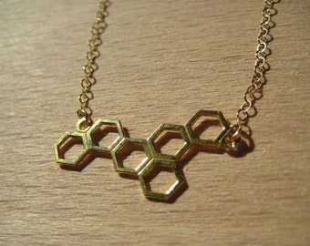 14k Gold Plated Sterling Silver Honeycomb Geometric Necklace