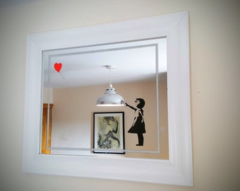 Engraved mirror with banksy girl