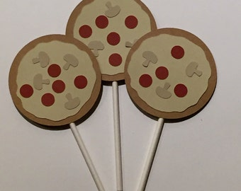 Pizza Party Cupcake toppers, Pizza cupcake toppers