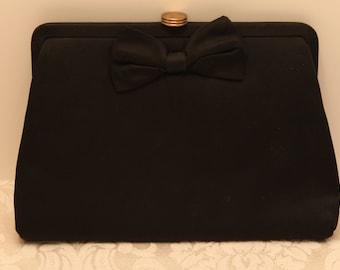 Vintage Black Peau De Soie Evening Purse from the 1940's in Black