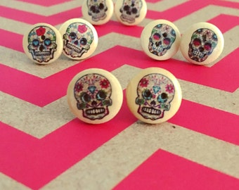 Sugar Skull Wood Button Earrings - Sugar Skull Earrings - Skull Earrings - Button Earrings