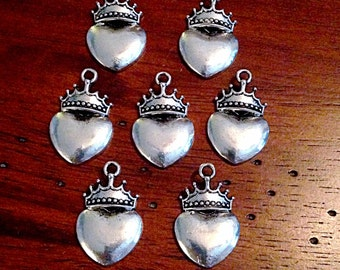 15 Heart Crown Charms, Antique Silver Heart Charms, Claddagh Charms, Irish Heart Charms, Silver Heart Crown Charms, Craft Supplies, Findings
