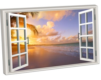 WV0345 Print On Canvas WINDOW Beautiful sunrise over the tropical beach SEASCAPE
