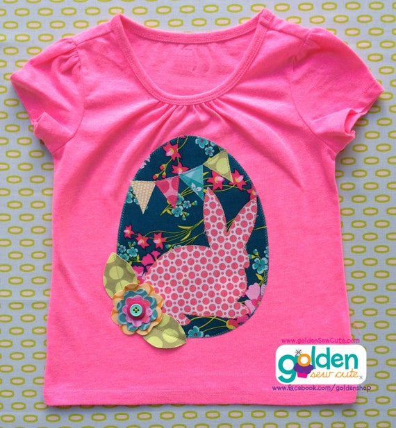 Easter Bunny Silhouette, Easter Egg, Fabric Bunting, Fabric Flower Girl Spring Tee