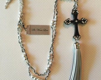 Black Cross With Silver Tassle and beaded Chain