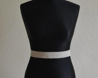 Thea- Cappuccino crochet lace bridal belt.