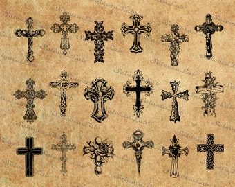Digital SVG PNG cross vector, jesus christ, religious symbols, silhouette, clipart, instant download