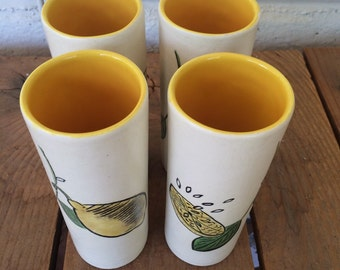 Vintage hand painted ceramic lemon glasses