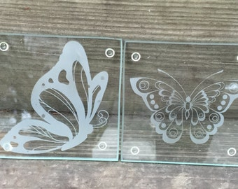 Glass coaster butterfly set of 4