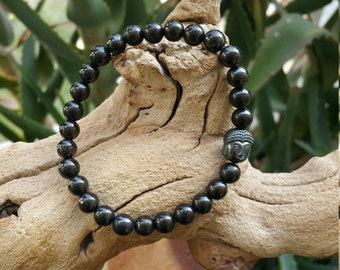 Shungite Bracelet with Hematite for Cleansing - Root Chakra