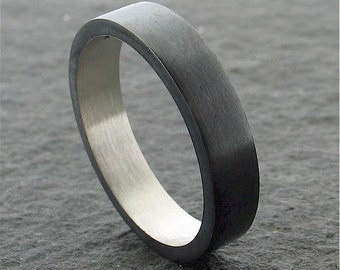 Wedding ring, black coloured silver 4mm band, full brushed finish for a man or woman