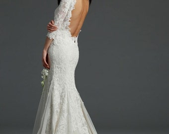 3/4 sleeve vintage lace wedding gown