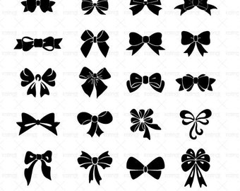 Bow SVG files, 20 Bow/Ribbon vector files, 1 PNG 300dpi  instant download, Bow Printable, Id#mf3