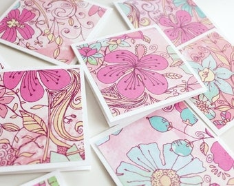 Mini Stationery Set, Floral Pink and Mint Mini Cards with Envelopes, Handmade Note Cards, Square Cards, Love Note, Gift Card, Blank Cards