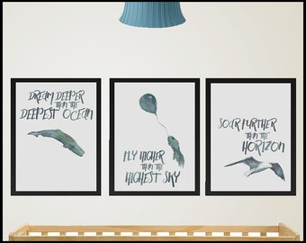 Dream Deeper, Fly Higher and Soar Further, Set of 3 Archival Quality Watercolour Prints for the Nursery