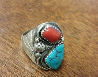 Turquoise and red coral ring