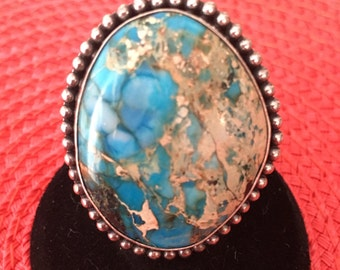 American Indian Hand Carved Turquoise & Sterling Silver Ring , size 5