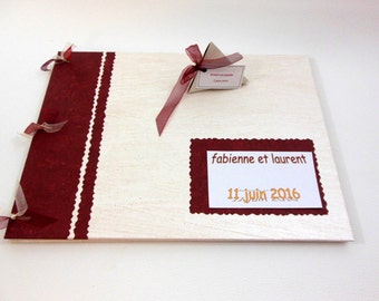 Photo ALBUM - guest book - Album wedding Burgundy Red and cream