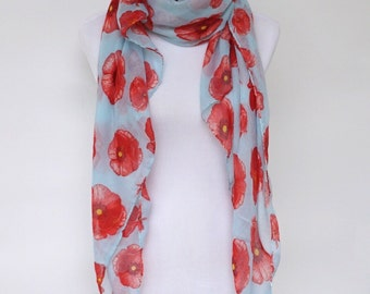Floral Scarf, Womens Scarves, Spring Scarf, Red Poppy Scarf, Fashion scarf, Boho Scarf Shawl, Women's Scarf, Gifts For Her