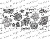 IG201 Nail Art Stamping Plate - mandala, Indian, henna, mehndi, floral, om, hamsa