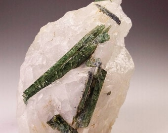 Green Tourmaline in Quartz Crystal Specimen, Karabib Namibia