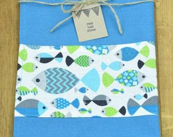 Teal Blue Hemp and Organic Cotton Tea Towel with Fish