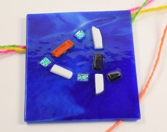 Fused glass art address number - modern house number - Modern glass mosaic number - blue house number - door number sign - mosaic style sign